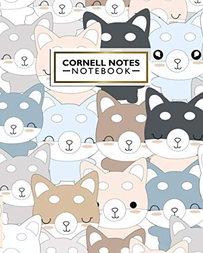 Cornell Notes Notebook: Happy Husky Dog Large Cornell Note Paper Notebook - College Ruled Medium Lined Journal Note Taking System for School and University