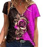 Elesoon Camiseta de verano para mujer, talla grande, 3D, impresión...