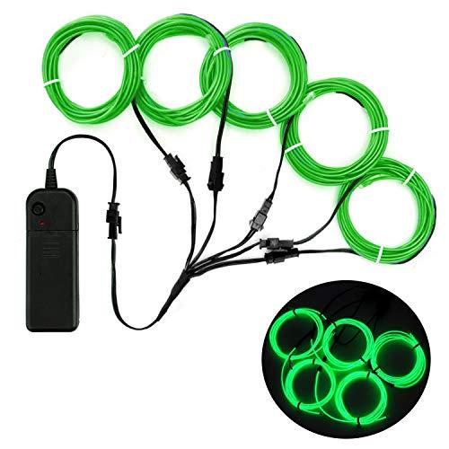 SZILBZ 5 x 1m Lichtschnur Leuchtschnur, EL Wire neon kabel Lichtband Lichtleiste Streifen für Halloween Weihnachtsfeiern Nacht Party, Rave, Haus Garten Dekoration Jade Grün