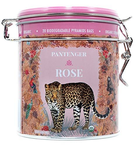Rose Tea Bags -20 XL Pyramid Sachets- Rose Tea Organic. Tea Blends -Finest Moroccan Rose Petals and Ceylon OP Black Tea Leaves from Uva- Pantenger Organic Tea Blend. Black Rose Tea.