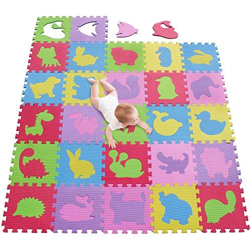 meiqicool Alfombrillas para Puzzles | Alfombra Puzzle para Niños Bebe Infantil 18 Piezas Suelo de Goma EVA Suave 142 x 114cm 535455