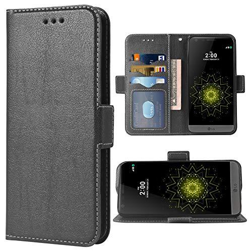 Phone Case for LG G5 Folio Flip Wallet Case,PU Leather Credit Card Holder Slots Full Body Protection Kickstand Hard Hybrid Protective Phone Cover for LGG5 SE LG5 G 5 5G Cases Women Men Black