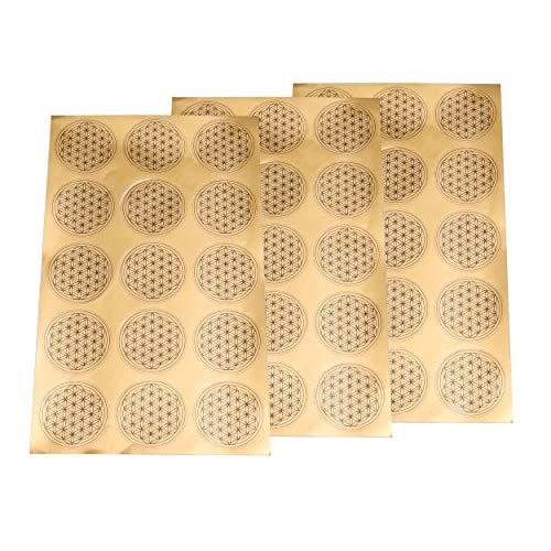 Sticker Bloem des levens – sticker folie aftrekbeeld levensbloem in goud | geluksbrenger Talisman geschenkidee | 50 mm 45 stuks