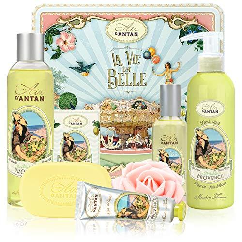 Un Air d\'Antan - Beauty Box Set PROVENCE 5 Produkte: 1 Duschgel 250ml, 1 Handcreme 25ml, 1 Seife 100g, 1 Körperlotion 200ml, 1 Eau de Toilette 55ml - Eisenkraut