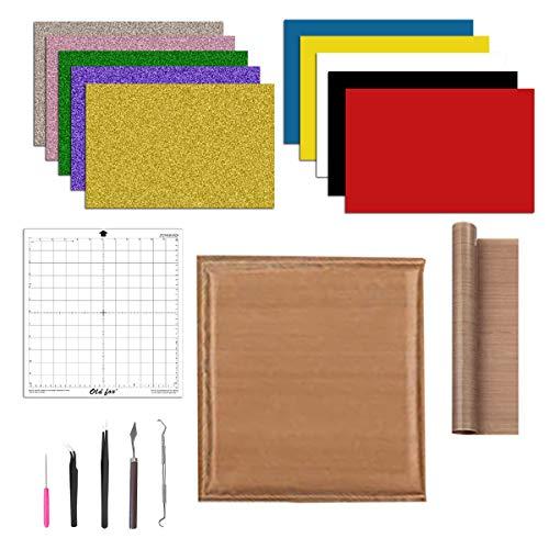 Runaup 5-in-1-Set zum Aufbügeln aus Vinyl + Teflonkissen für Wärmepresse + Teflonfolie für Wärmepresse + Schneidematte + Werkzeug)