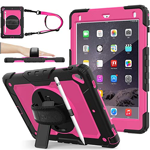 iPad 6th/5th Generation Case, SEYMAC Stock [Full-body] Drop Proof Protective Case with 360 Rotating Stand [Pencil Holder][Screen protector] Hand Strap for iPad 6th/5th/ Air 2/ Pro 9.7 (Rose+Black)