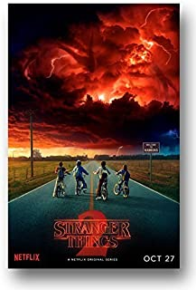 Stranger Things Season 2 Poster - 16 x 25 inch Promo red Sky Print Sticker Retro Unframed Wall Art Gifts 40x63cm