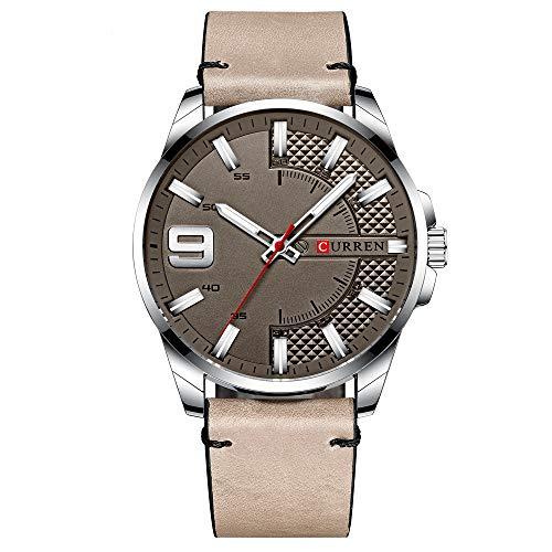 Curren Reloj de pulsera para hombre, de cuarzo, clásico, exquisito estuche de aleación y correa de piel, resistente al agua