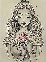 QMGLBG 5Dダイヤモンド塗装 スケッチかわいい女の子の漫画の大人のダイヤモンドの絵画芸術はリラクゼーションと壁の装飾に最適です30*40cm