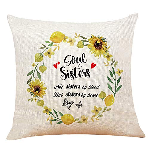 XUWELL Best Friend Quotes Soul Sister Cotton Linen Throw Pillow Cover, Friendship Soul Sisters Gifts, Cushion Case for Sofa Bed Home Decor 18 x 18 Inch