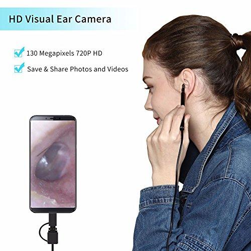 QIND - Cámara de Inspección con 6 Ledes, endoscopio Visual, USB, Digital, para Android Mac y PC, Cuidado de la Salud de los Oídos, endoscopio, Negro, Tamaño Libre
