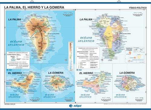 Mapa mural Tenerife / la Palma, el Hierro y la Gomera impreso a doble cara Físico / Político envarillado, con colgadores y tubo 140 x 100 cm