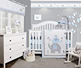 Bumperless 5 Pieces OptimaBaby Blue Grey Elephant Baby Nursery Set - Baby Bedding, Baby Crib Bedding Sets for Boys - Baby Boy Bedding Sets for Cribs - Crib Bedding for Baby - Boys Crib Bedding Sets