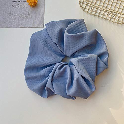 Accessoires pour cheveux Super grand cercle élégant tempérament net rouge couleur unie bande de cheveux haut de gamme bande de caoutchouc cheveux accessoires-bleu
