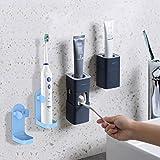 Dispensador de pasta de dientes automático montado en la pared viene con 2 soportes de cepillo de dientes eléctricos, para baño Exprimidor automático de pasta de dientes a prueba de polvo(Azul Oscuro)