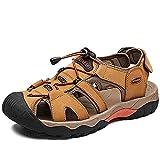 VTASQ Sandalias Hombre Verano Piel, Aire Libre Deportivas Playa Antideslizantes Zapatos Senderismo Sandalias con Punta Cerrada Zapatos de Senderismo Amarillo Dorado 39EU