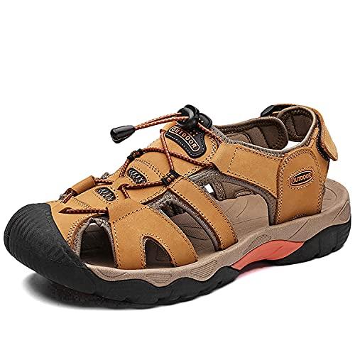 VTASQ Sandalias Hombre Verano Piel, Aire Libre Deportivas Playa Antideslizantes Zapatos Senderismo Sandalias con Punta Cerrada Zapatos de Senderismo Amarillo Dorado 46EU