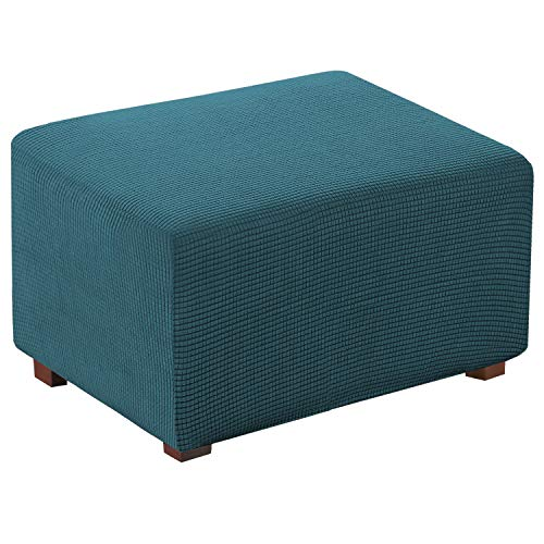 Oversized Ottoman Slipcover Sofa Spandex Jacquard Stretch Storage Ottoman Cover Protector Covers (X-Large, Deep Teal)