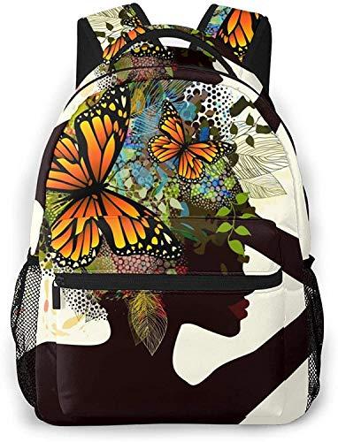 Negro princesa cisne básico viaje portátil mochila novedad escuela bolso-hermosa chica con flores en su cabeza