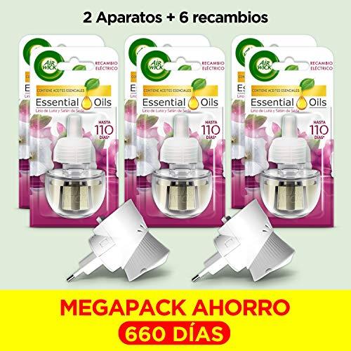 Air Wick Eléctrico Megapack - Ambientador, esencia para casa con aroma a Lirio de Luna - 2 aparatos + 6 recambios