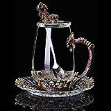 Taza de té con diseño de flores delicadas, sin plomo, con asa para regalos de cumpleaños