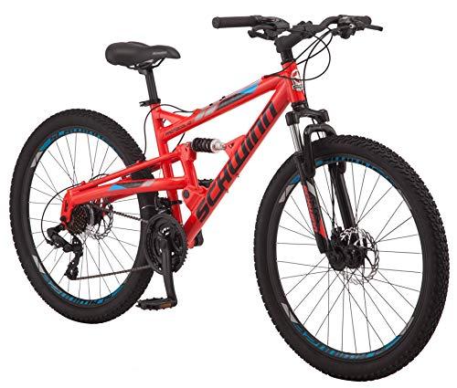 Schwinn Protocol 1.0 Mens and Womesn Mountain Bike, 26-Inch Wheels, 24-Speed Drivetrain, Lightweight Aluminum Frame, Full Suspension, Red/Blue
