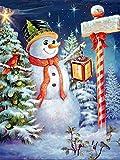 Reuahh Kit de Pintura Diamante 5D Hombre de Nieve imágenes de Bordado de Punto de Cruz para decoración de la Pared del hogar Diamante Cuadrado Sin Marco 35x45cm