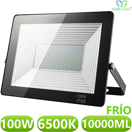 Foco LED exterior Floodlight 100W GNETIC GLASS Proyector Impermeable IP65 10000LM Color Luz Blanco Fría 6500K Angulo 120 Grados 240x325 mm 30000h Equivalente a 900W [Eficiencia energética A] Pack 1