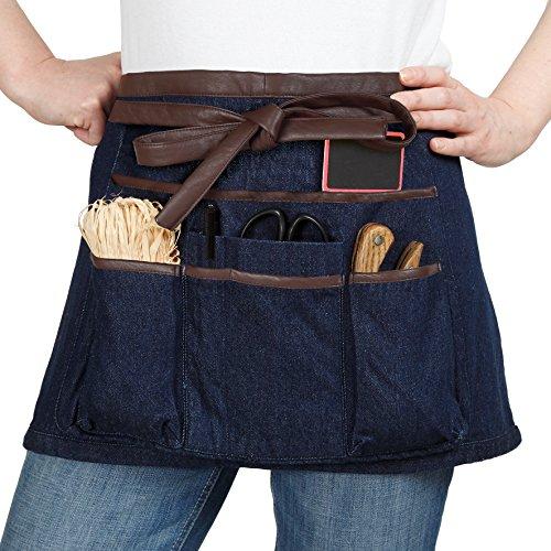 La cordeline Tablier court pour jardinage ou bricolage, 100% coton, en jean avec bordures et liens simili cuir, 7 poches, coutures renforcées, TJC1BJSM Bleu Jean 2 x 64 x 34 cm