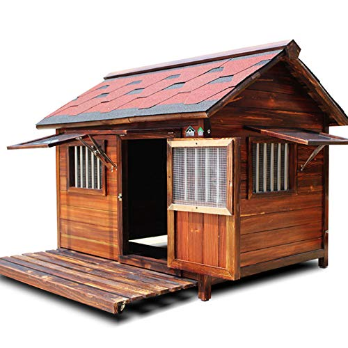 DUTUI Hundehütte Aus Holz Im Freien, wasserdichte Hundehütte Aus Holz Im Freien, Hundehaus Aus Holz, Hundehütte Mit Fenster