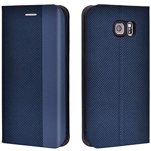 Airkuco Schutzhülle für Samsung Galaxy S6 Leder Hülle Flip Case Handyhülle - Blau