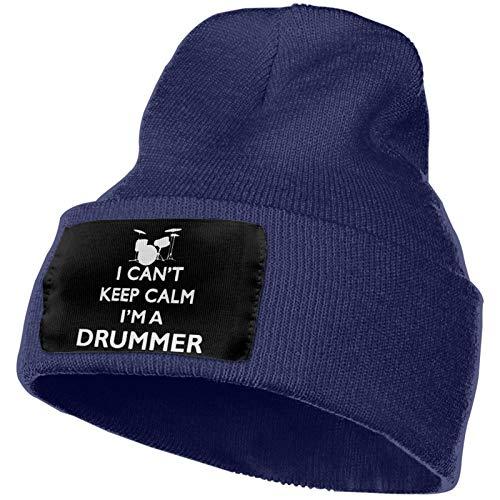 Gorro de punto para hombre y mujer, con texto en inglés 'I Can't Keep Calm I'm A Drummer