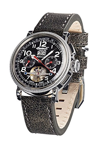 Ingersoll Herren Chronograph Automatik Uhr mit Leder Armband IN1827BKCR