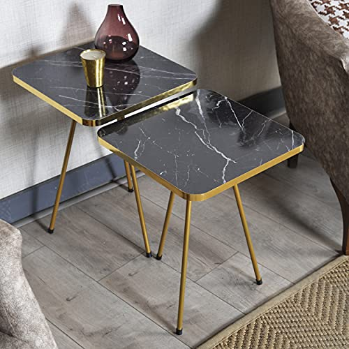 Set of 2 END Tables - Sunrise Marble Look Wood Square Sofa Side Table for Small Spaces, Nightstand Bedside Table for Bedroom, Living Room, Office, NO-Tools Assembly (Black Marble/Gold)