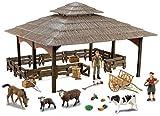 Farmee Large Farm Barn con Figuras y Accesorios de Animales Pintados a Mano Modelo 02C | para niños y niñas Amantes de la Naturaleza | Set de Juego Coleccionable