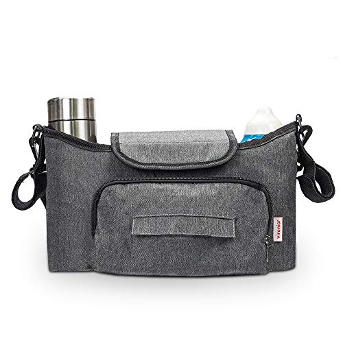 Stroller Organizer, Universal Baby Organizer Bag with Cup Holder and Great Capacity for Carrying Phone, Snacks, Diapers, Bottle, Tissue, Toys, Umbrella with Shoulder Straps (Grey)