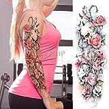 tzxdbh 3PCs-Waterproof Tattoo Sticker Lotus Beauty Girl Umbrella Full Arm Back Tattoo Tattoo Set Girl Female - 3PCs-