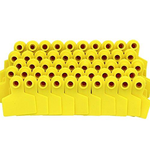 100 piezas de TPU para orejas de cerdo sin números, oveja, vaca, caballo, cerdo, tarjetas identificadas de granja (amarillo)