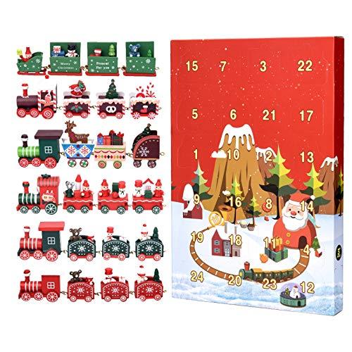 Joyjoz Calendario de Adviento 2020, 24 Piezas de Juguetes de Trenes navideños, 6 Trenes navideños Diferentes de Madera para niños y Adultos, Decoraciones navideñas