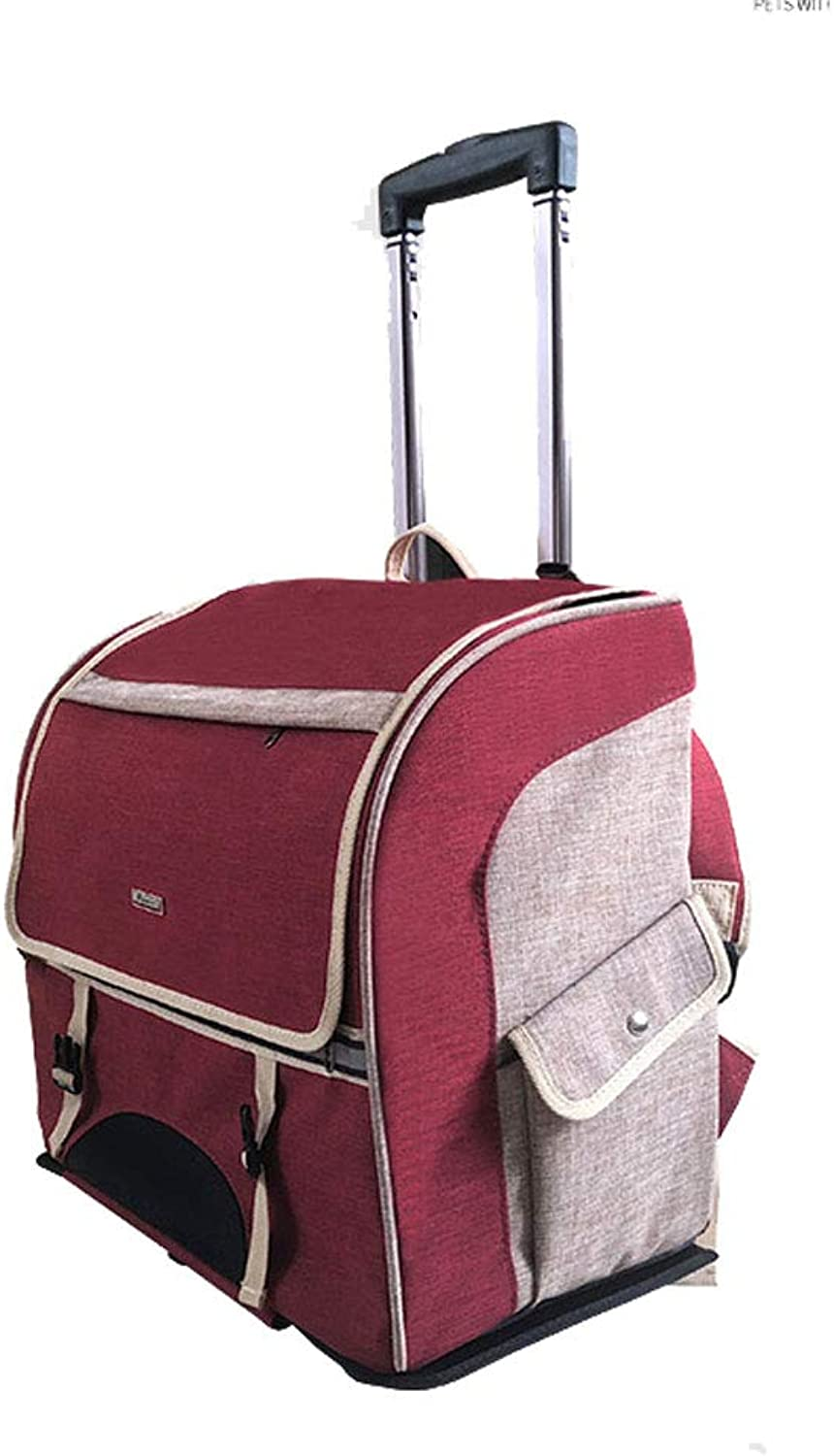 MCLD Pet Trolley Case, Fully Enclosed 2 Rounds of Portable Distaccable Folding Dueable Dog and Cat Outdoor Backpack 44 * 23 * 39CM (colore: RED)