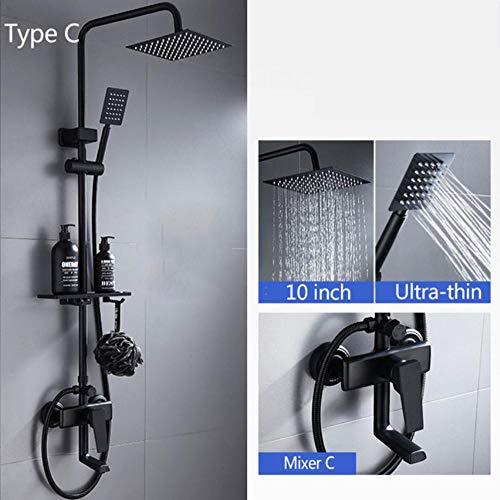 Matte zwarte douchekranen Ultra dunne regen douchekop en handdouche met plank warme koude mixer badkamer wastafel kranen Type C