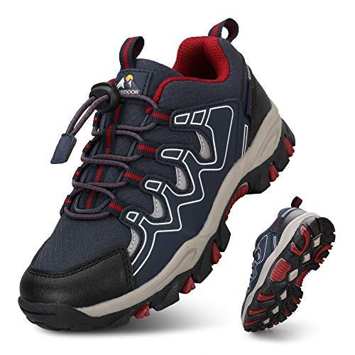 UOVO Turnschuhe Jungen Wanderschuhe Sneakers Kinder Trekking Schuhe Outdoor Sportschuhe Laufschuhe Blau 34