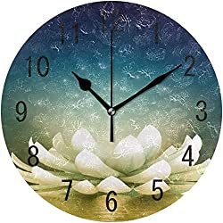 Home Decor Beautiful Water Lily Lotus Flower Round 9.8 Inch Wall Clock Non Ticking Silent Clock Art for Living Room Kitchen Bedroom