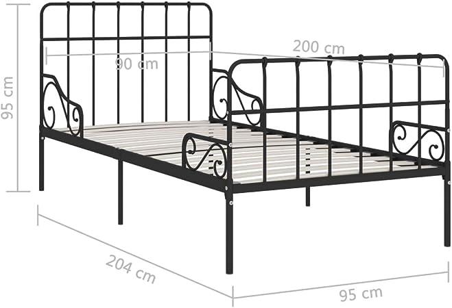 Goliraya Estructura de Cama con Somier Marco de Cama Metal Negro 90x200 cm