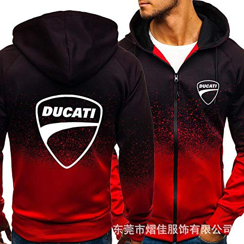 KeepFire Herren Hoodies Pullover Für Ducati-Kapuzen-Sweatshirt Warme Nähte Langarm Casual Sports Voller Reißverschlussjacken B-Large