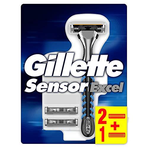 Gillette Sensor Excel Maquinilla De Afeitar Para Hombre + 2 Recambios Sensor Excel Y 1 Recambio Sensor3