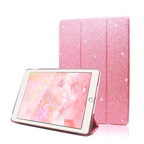 FAN SONG Glitzer Hülle für iPad 9.7 2018 2017, PU Leder Schutzhülle mit Ständer & Auto Aufwachen/Schlaf Funktion Intelligent & Ultra Dünn (Pink)