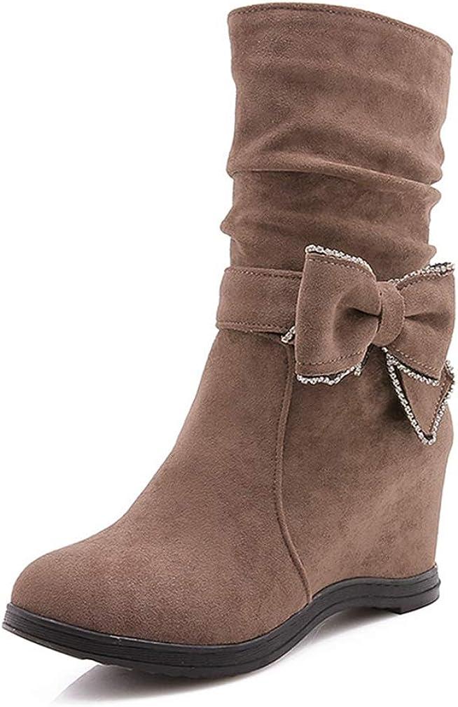 Cheap sale Women's Winter Hidden Wedge Slouch Boots Mid Round Zipp Direct sale of manufacturer Toe Calf