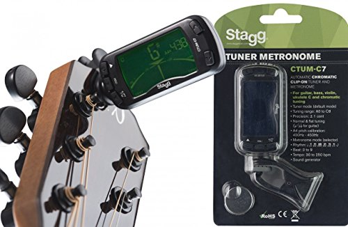 Stagg 21016automático Afinador Cromático Clip-on Sintonizador con