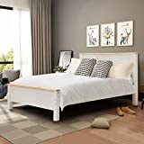 INMOZATA 5FT Solid Pine Wooden Bed Frame King Size Bed with Strong Headboard and Footboard Bedroom Furniture (White)